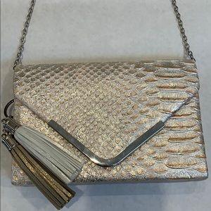 Charming Charlie RSVP Faux Snake Metallic Bag